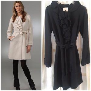 Rebecca Taylor Belted Ruffle Coat BLACK 2/4/6/XS/S